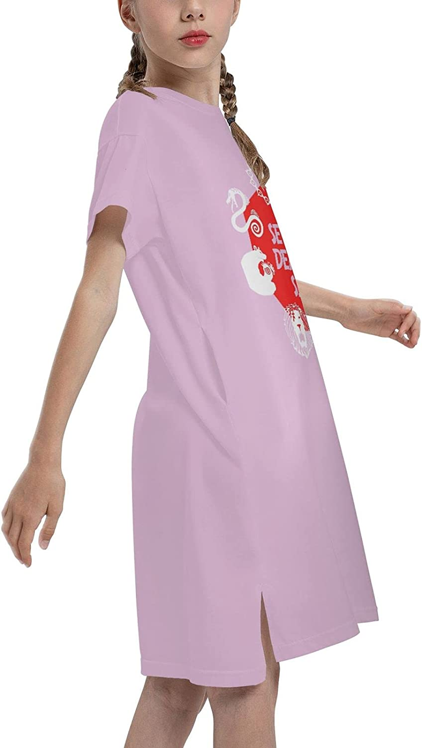 Vgfgtr The Seven Deadly Sins Logo Girls Short Sleeve Dress Casual Swing Twirl Skirt for Holiday Theme Party 7-12 Years