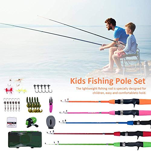 GWFVA Juego de caña de Pescar telescópica, caña de Pescar para niños con Carrete Spincast Kits completos de caña de Pescar telescópica para niños, niñas y Adultos