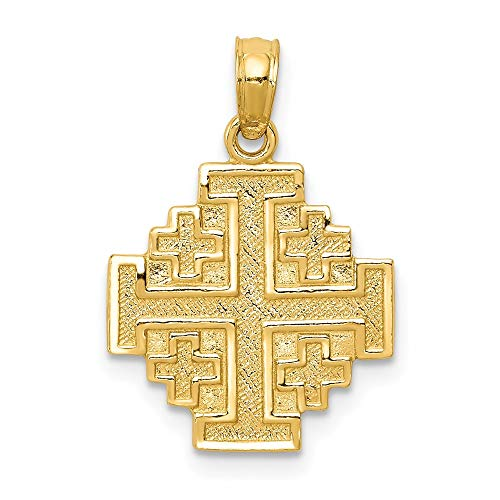 14K Yellow Gold Jerusalem Cross Pendant