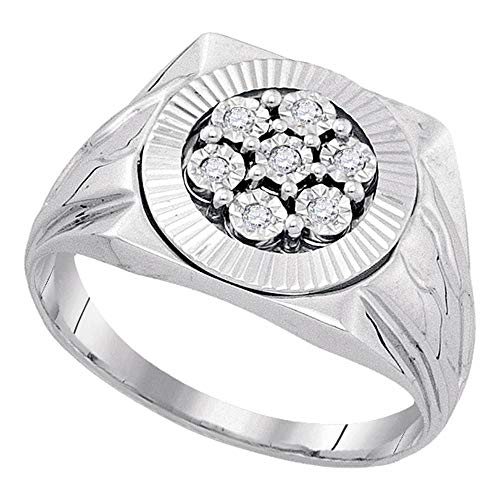 Dazzlingrock Collection Sterling Silver Mens Round Diamond Flower Cluster Illusion-set Ring 1/10 ctw