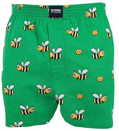 HAPPY SHORTS Webboxer Herren Boxer Motiv Boxershorts FARBWAHL , Grösse:M - 5 - 50, Präzise Farbe:Biene - Bee