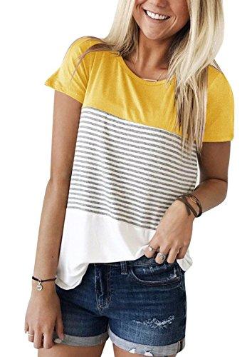 Yidarton Damen Sommer T-Shirt Casual Streifen Patchwork Kurzarm Oberteil Tops Bluse Shirt (XX-Large, Gelb)