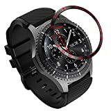 MoKo Bezel Ring Compatible with Samsung Galaxy Watch 46mm/Gear S3, Anti Scratch Metal Protector Tachymeter Smart Watch Bezel Styling Adhesive Cover Fit Samsung Gear S3/Galaxy Watch 46mm - Black & Red