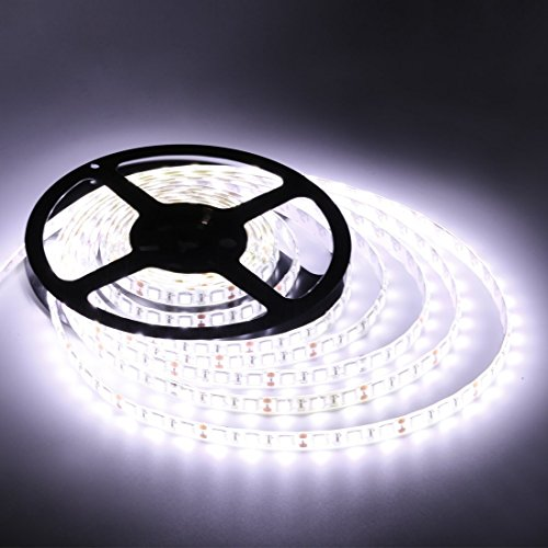 Flexible LED Strip Lights,300 Units SMD 5050 LEDs,LED Strips,Waterproof,12 Volt LED Light Strips, Pack of 16.4ft/5m,for Holiday/Home/Party/Indoor/Outdoor Decoration(White)