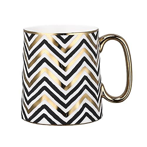 Tazas de café de cerámica Geometri Tazas de desayuno personalizadas doradas y negras para té, leche, agua, taza de oficina única, regalos de lujo tazas personalizadas originales Graciosa tazas desayum