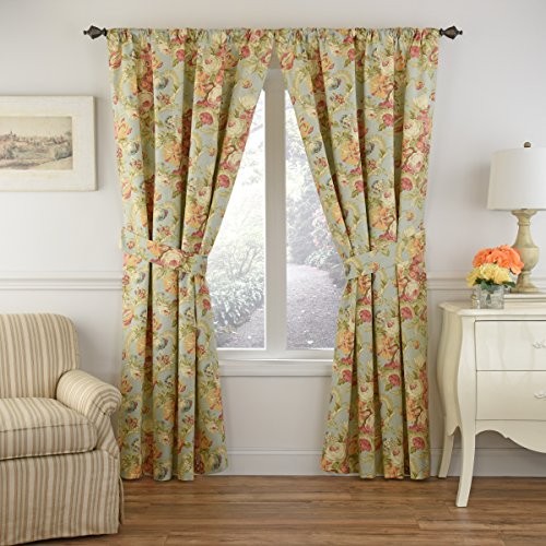 WAVERLY Spring Bling Rod Pocket Curtains for Living Room, Single Panel, 63x52, Vapor
