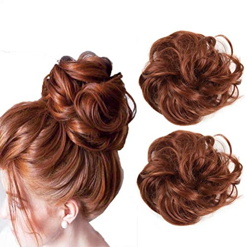 iLUU 2pcs Fashion Messy Hair Bun Extensions Chignons Hair Synthetic Hair Scrunchie Scrunchy Updo Hairpiece for Women Party (#350 - Copper Red)