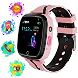 Karaforna Smart Watch for Boys Girls Kids Smartwatch with GPS Tracker Call Camera Game Alarm Clock SOS Voice Chat Flashlight Touch Screen Phone Wrist Watch Gifts for Children 4-12 Years (Pink)