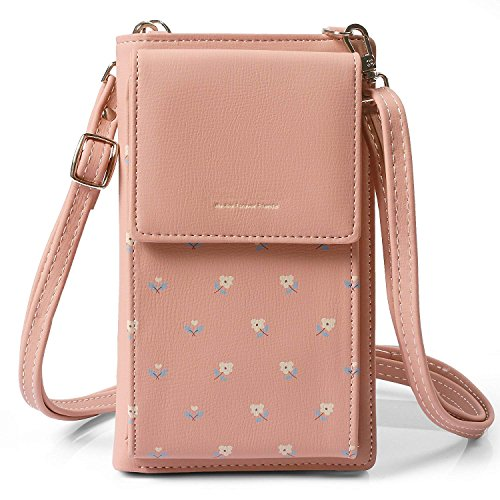 HMILYDYK Girls Cross Body Bag Mini bolso de cuero floral Mobil Phone Monedero titular de la tarjeta Mini monedero