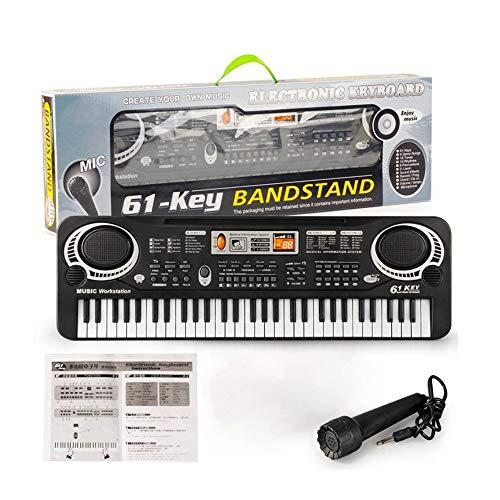 YUSDP 61 Tasten Elektronisches Digital-Keyboard, Multifunktions-Kindermusikklavier, mit Mikrofon - Musikunterrichtsspielzeug, Geburtstagsgeschenke für Weihnachten für Kinder