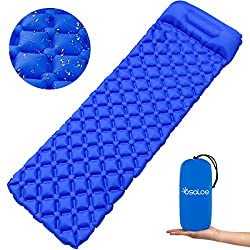 Osaloe Inflatable Sleeping Pad, Ultralight Camping Sleeping Mat with Cushion, Waterproof & Compact Inflatable Air Mattress for Camping, Outdoor, Travel, Hiking, Beach