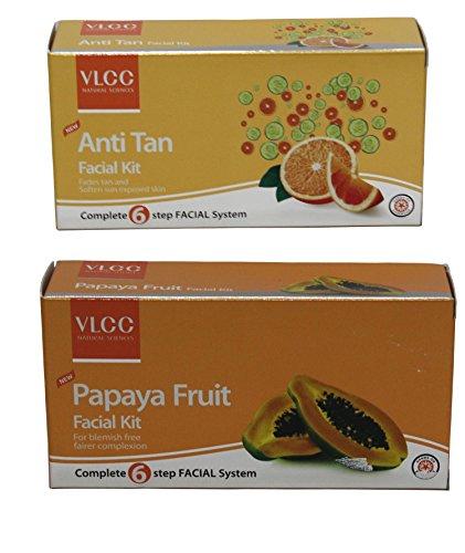 VLCC Anti Tan Facial Kit & Papaya Fruit Facial Kit Combo