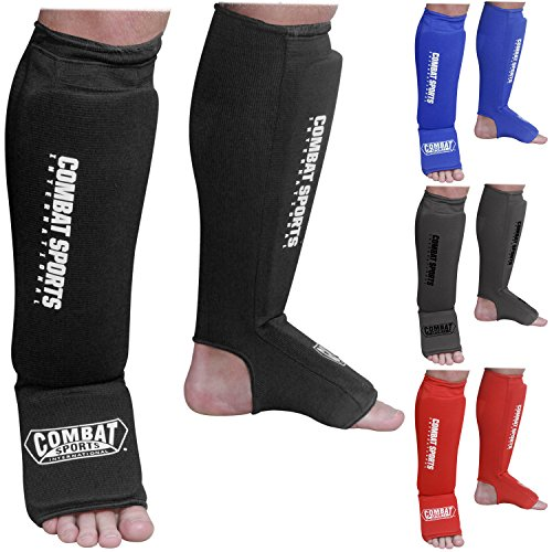 Combat Sports Washable Shin Guards Washable MMA Elastic Cloth Shin & Instep Padded Guards, Black, Large