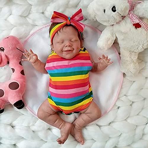 Reborn babypop Realistisch vinyl baby jongen 18 inch gewogen zacht lichaam Levensechte poppen-cadeauset met geboortekaartje en kleding Het ideale speelgoed voor kinderen Een warm cadeau voor ouderen ,girl