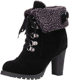 WWricotta dames hoge hak laarzen veterlaarzen Sich enkellaarzen gesp Plateauschoenen ruw hiel boots hakschoenen (,)