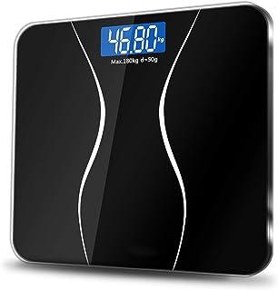 Wghz Báscula Digital - Báscula de Grasa Corporal Inteligente, Báscula de baño para el Suelo Báscula de Vidrio Báscula de Peso Digital electrónica Pérdida de Peso Monitor LCD 180KG/50G Fácil de