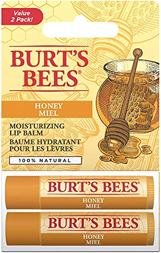 Burt's Bees 100% Natural Moisturising Lip Balm, Honey With Beeswax Duo Value Pack, 2 Tubes In Blister Box