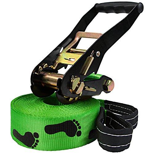 ALPIDEX Slackline 15 m für Anfänger und Fortgeschrittene geeignet, max. Belastung 2 Tonnen, inkl. Transportbeutel - Barfuß Spuren. grün