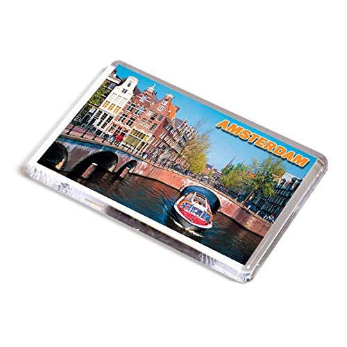 AWS Magnete in PVC Rigido Amsterdam Olanda Holland Souvenir calamita Fridge Magnet Magnete da frigo in plastica Dura con Immagine Fotografica Città Paesi Bassi