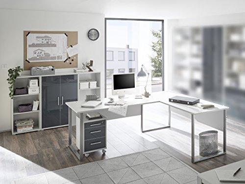 SUPER XXL Set Büromöbel Office Luxo 5 teilig I Graphit-Lichtgrau