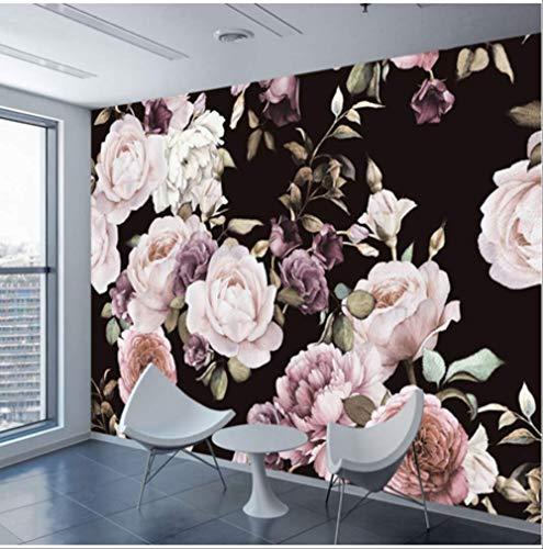 Aangepaste 3D foto behang muurschildering hand beschilderd zwart wit Rose pioen bloem muur muurschildering woonkamer huisdecoratie schilderij muurpapier Width 200cm * Height140cm A