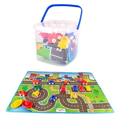 Viking Toys - Bucket Set with Large Playmat, Includes 15 Mini Chubbies 2.75' Vehicles, for Kids Ages 1 Year +