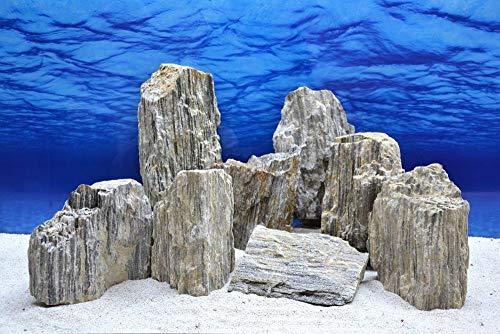 Pro Stein Aquarium Deko Glimmer Wood Rock grau Glimmer Effekt 2,3-2,7 Kg Nr.47 Pagode Rocks Aquascaping