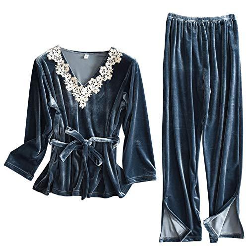 LEYUANA Ropa de casa de Dos Piezas para Mujer, Cuello Vuelto de satén Hermoso Conjunto de Pijamas de Manga Larga y Pantalones Estampado de Seda sintética XL Azul
