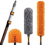 20 Foot High Reach Duster Kit with 5-12 ft Extension Pole // High Ceiling Duster Cleaning Kit with Telescopic Pole // Cobweb Brush // Feather Duster and Ceiling Fan Duster // The Ultimate Dusting Kit