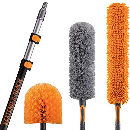 20 Foot High Reach Duster Kit with 5-12 ft Extension Pole // High Ceiling Duster Cleaning Kit with Telescopic Pole // Cobweb Duster // Feather Duster and Ceiling Fan Duster // The Ultimate Dusting Kit