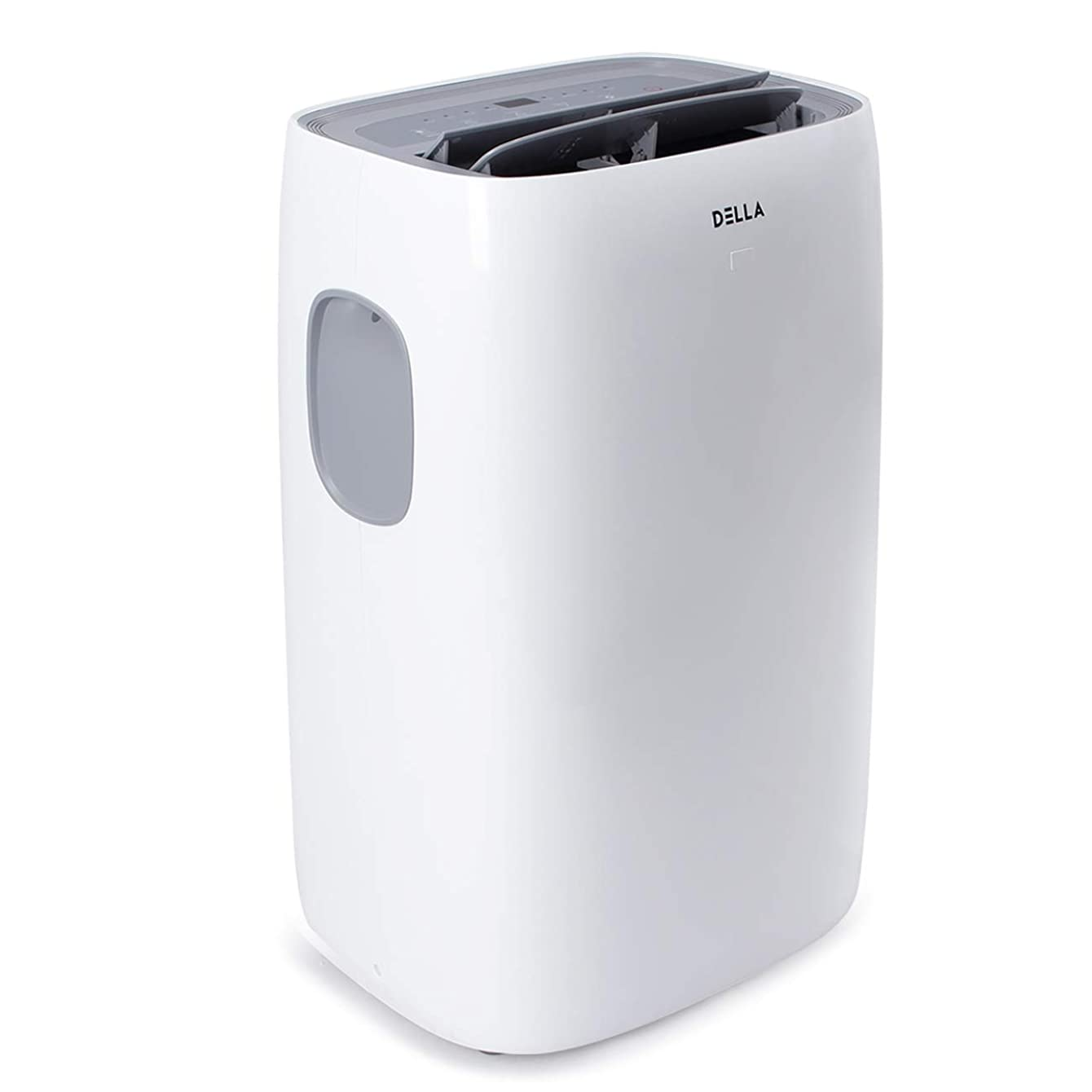 DELLA 12000 BTU Portable Air Conditioner Dehumidifier Fan 24hr Timer Self Evaporation Rooms Up To 550 Sq. Ft. Remote Window Kit & Wheels Included - White