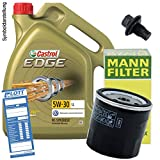 Ölwechsel Set Inspektion 5L Castrol Edge Titanium FST LL 5W-30 Öl Motoröl + MANN Ölfilter + Öl Ablassschraube Verschlussschraube