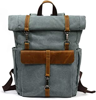 Bearky Bag Green Khaki Man Leather Canvas Rolltop Backpack Large-Capacity Fashion Multi-Function Leisure Travel Bag (Color : Blue, Size : 15.6inches)
