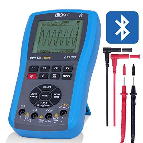 EONE Oszilloskop digital Multimeter Automatisch Ohm Tisch Frequenzmesser 4 in 1 messen AC/DC Spannung Strom,Widerstand,Kontinuität,Kapazitanz,Frequenz,Dioden;Bluetooth Verbindung + LED Anzeige