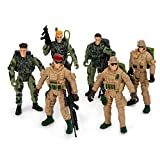 Boley 6 Pack Soldier Action Figure Set - Elite Force Military Soldiers and Accessories – Pretend Play Army Toys for Kids