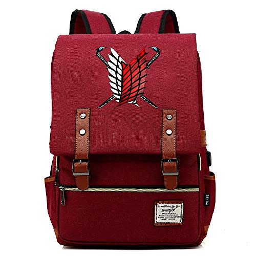 HPOZA School Backpack Anime Attack On Titan Unisex Multifunctional Backpack School Backpack Cartoon Casual Rucksack Book Bags