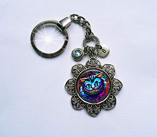 Psychedelic Cheshire Cat Keychain or Zipper Pull with Swarovski Birthstone Crystal and Letter Charm * Handcrafted with lOve!