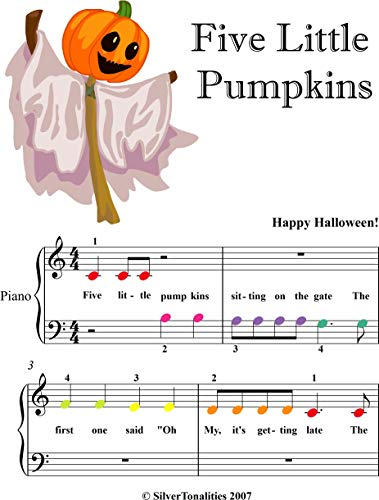 Five Little Pumpkins Beginner Piano Sheet Music with Colore Notes