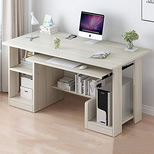 Pc Table Study Writing Table Workstation for Home,Computer Desk with Open Shelves,Modern Study Office Desk with Keyboard Tray & Host Position