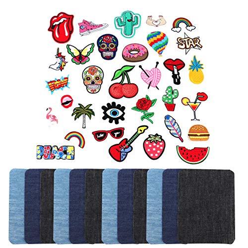 Tebery 32 stuks patches met 12-delige patches om op te strijken in 3 kleuren katoen lappen strijkpatches leuke doe-het-zelf kledingpatches sticker zomer-Thema voor T-shirt, jeans, kleding tassen