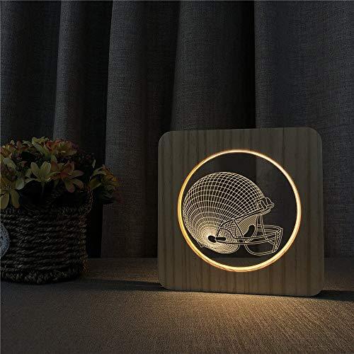 Baseball Cap Helm 3D LED Acryl Holz Nachtlicht Tisch Lichtschalter Steuerung Kinderzimmer Dekoration Carving Light