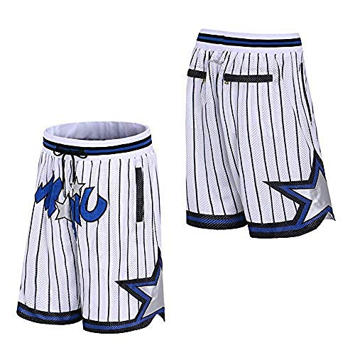 Herren Basketball Shorts # Orlando Magic Retro Jersey Shorts Stickerei schnell trocknend doppelter Stoff atmungsaktive Memorial Shorts-L