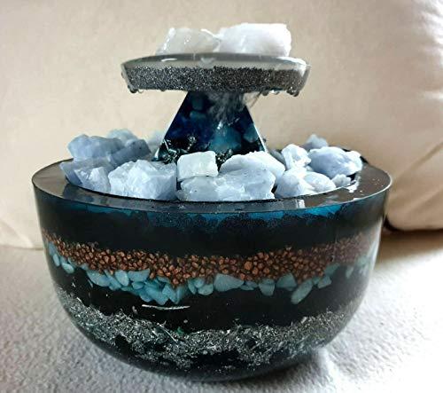 Nature-and-Spirit Orgonit Zimmerbrunnen mit Orgonit-Schale und Maya Pyramide, Wasserspiel, Prana