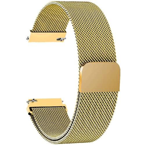 Correa de reloj magnética de metal de liberación rápida tejida correa ajustable de malla de acero inoxidable correas de repuesto para mujeres y hombres, dorado, 14mm,