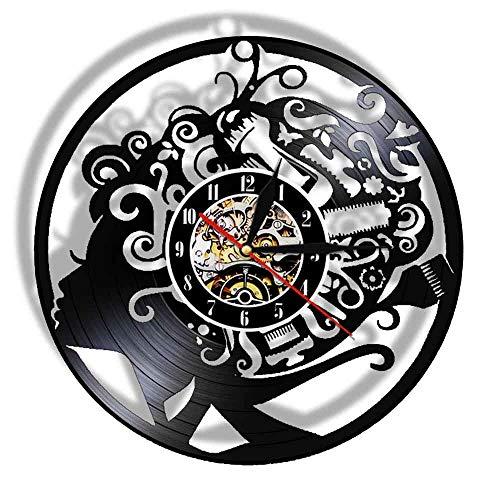 Eld 30cm Barbershop Reloj de Pared Disco de Vinilo Salón de Belleza Retro Vintage Reloj de peluquería Herramientas para el Cabello Peine Tijeras Moda Música Moderna Arte Record Relojes de Pared