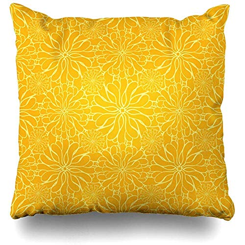Throw Pillow Case 45x45 cm Creative Lemon In Floral Textile Handdrawn Pattern Stylized Flowers Colors Curve Abstract Textures Cushion Cover