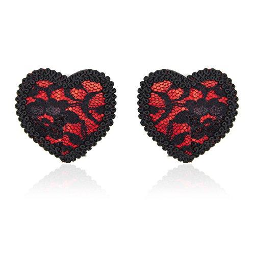LUOEM 1 Paar Damen Sexy Nipple Cover Wiederverwendbare Pasties Brust Herzförmige BH Aufkleber (Schwarz Rot)