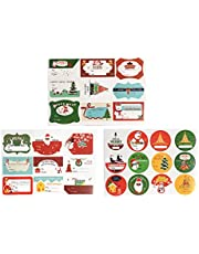 ALIMITOPIA Christmas Writable Sticker Xmas Elements Self-Adhesive DIY Cartoon Sticker Gift Sealing Decoration Paster Baking Packing Label Wrapping Stickers Packaging Envelope Seals(12 Sheets,120pcs)