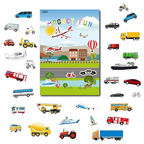Magnetic Portable Playboard Cars Planes Boats Airport Country Farm Vehicles...