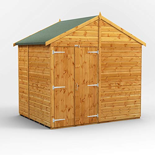 POWER | 6x8 Windowless Apex Double Door Wooden Garden Shed | Size 6 x 8 | Super Fast Delivery or Pick your own day